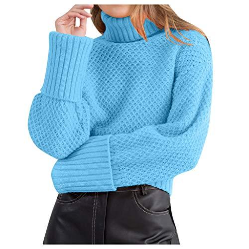 ZEELIY Strickpullover Damen Einfarbig Elegant Strickpulli Mode Hoher Kragen Langarm Winterpullover Warm fur Herbst Winter