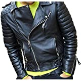 SKY LINE OCEAN GENUINE SHEEP LEATHER JACKET (100% PURE LEATHER) FOR MEN BLACK