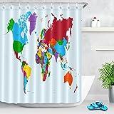 Mappa del mondo Tenda da doccia paesi colorati con testo Atlas Tessuto in poliestere decorato Tende da bagno Impermeabile Anti-muffa Arredamento da bagno Accessori per la casa con 12 ganci per tende 180x200cm