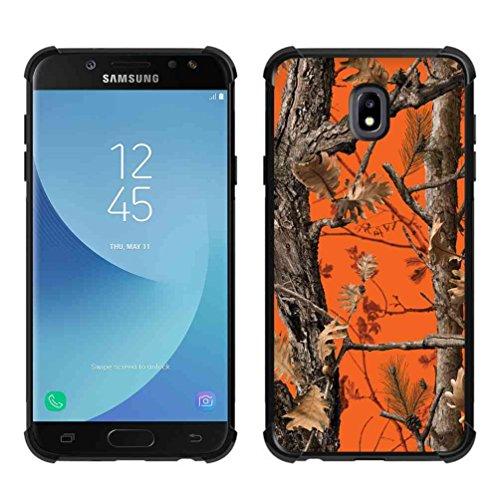 Samsung Galaxy J72018Fall, Galaxy J7Verfeinern Fall, Galaxy J7V 2nd Gen Fall, Galaxy J7Top/J7Star/J7Aero Case/J7Krone, abloombox Slim Bumper Gummi Schutzhülle mit verstärkten Ecken, Orange - Glitter Print Top