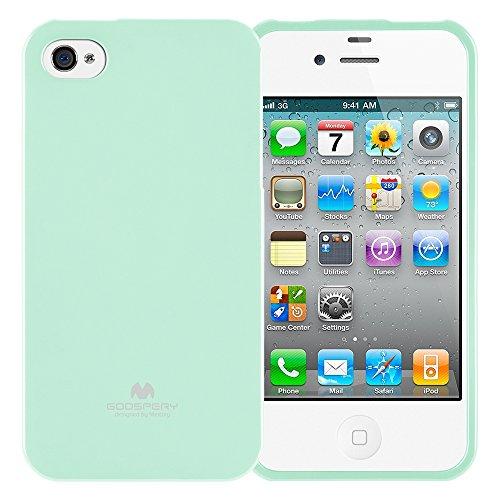 Goospery Marlang Marlang iPhone 4/4S Hülle, Gratis Displayschutzfolie [Slim Fit] TPU Fall [flexibel] Pearl Jelly [Schutz] Bumper Cover für Apple iPhone 4S, mintgrün 4s Pearl Case Iphone