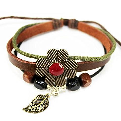 Véritable Spark pour femme Filles Pendentif feuille Bracelet cuir vintage Perles Fleurs réglable Corde Marron Bracelet Wrap