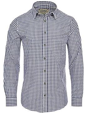 Hochwertiges Herren Trachtenhemd Gr.S-6XL Blau/Weiss Kariert