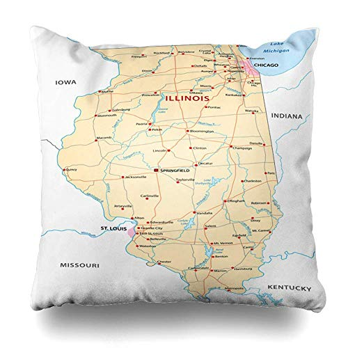 EJjheadband Throw Pillows Covers Louis Illinois Map Chicago River Indiana State USA Home Decor Pillowcase Square Size 18 x 18 Inches Cushion Case Illinois Home Jersey