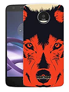 """Humor Gang Red Wolf AbstractPrinted Designer Mobile Back Cover For """"Motorola Moto Z"""" (3D, Matte Finish, Premium Quality, Protective Snap On Slim Hard Phone Case, Multi Color)"""