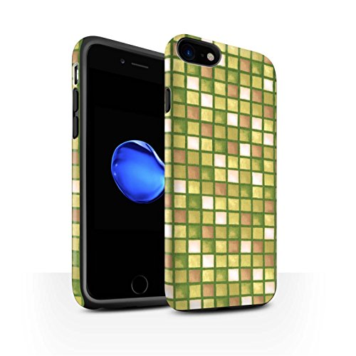 STUFF4 Matte Harten Stoßfest Hülle / Case für Apple iPhone 8 / Grün/Weiß Muster / Bad Fliesen Kollektion Gold