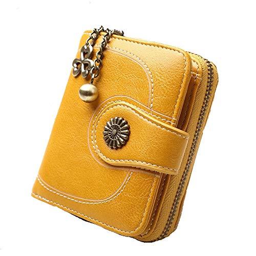 Vnlig Damen Brieftasche Öl Wachs Haut Münze Geldbeutel Kurze DREI-Fach Münztüte Frauen Leder Leder Clutch Bag (Farbe : Gelb)