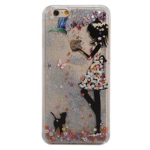 Etche Schutzhülle für iPhone 5C Hülle, iPhone 5C Fließen Flüssig Tasche, Schwimmend Stern Case für iPhone 5C, Klar Transparent Dynamisch Shiny Glanz Sparkle Sterne Wasser Schmetterling Mädchen Blumen  Sterne,Vogel Katze Mädchen