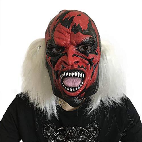 Halloween Horror Hexe Maske Weißes Haar Rotes Gesicht Grimasse Maskerade Show Scary Props