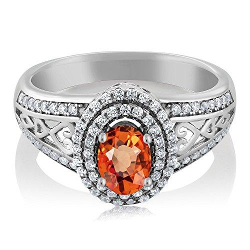 Gem Stone King - Sterling-Silber 925 Sterling-Silber Oval Rund White Orange Zirkonia Saphir (Frauen Für Gem Stein-ringe)