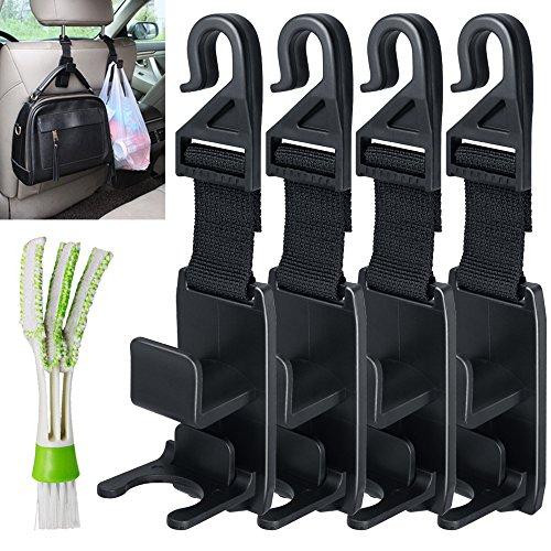 Preisvergleich Produktbild Senhai Auto Kopfstütze Haken mit Mini Duster für Car Air Vent, 4 Packs Universal Sitz Rückseitenverkleidungen Organizer, mit 1 Automotive Air Conditioner Cleaner und Pinsel