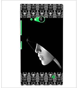 PrintDhaba Girl In Shade D-4093 Back Case Cover for NOKIA LUMIA 730 (Multi-Coloured)