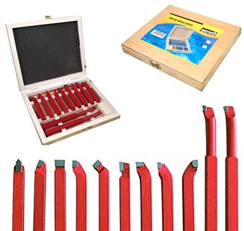 Lame/Utensili in acciaio per troncatura a tornio/mini tornio 12mm in box di legno set 11 pz (Attacco 12 mm)