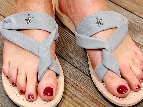 SEESTERN Damen Leder Zehentrenner Zehensandale Zehensteg Sandalen in Größe 36-44 Grau
