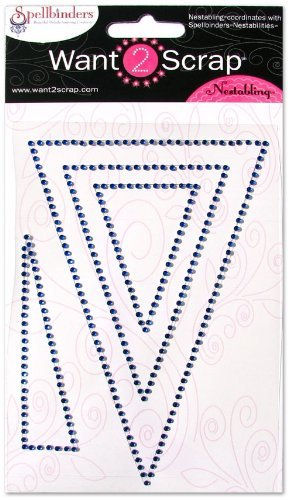 Want2Scrap Nestabling Nested Pennants Royal Blue Rhinestones by Want2Scrap -