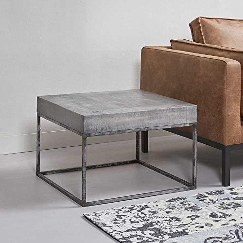 Pharao24 Couch Beistelltisch aus Mangobaum Massivholz Edelstahl