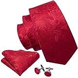 Conjunto de Barry.Wang, de gemelos, pañuelo para bolsillo y corbata, de seda, con elegante estampado floral, para hombre Rojo rosso Talla única