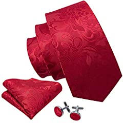 Idea Regalo - Barry.Wang, elegante set di cravatta, gemelli e pochette da uomo, motivo floreale, materiale: seta Red Taglia unica