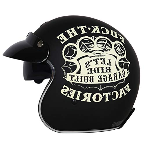 Erwachsenen Retro Harley Motorradhelm Eingebaute Sonnenbrille 3/4 Jethelme Männer Frauen Universal Lightweight Simpson Helm Racing Safety Caps (Bontrager Super)