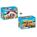 PLAYMOBIL set en 2 parties 6865 6866 École + Car de Ramassage Scolaire