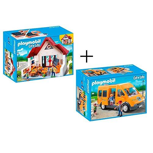Playmobil 6865 + 6866 City Life - Set de 2 juegos: Escuela y autobús escolar