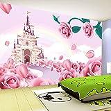 Chlwx 200cmX150cm (78.7inX55.156in) Großes Wandbild Tapete 3D Cartoon Prinzessin Schloss Foto Wallpaper Kinder Zimmer Einrichtung Stroh Textur Wandmalereien