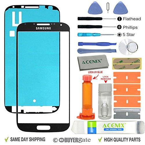 ACENIX Universal Reparaturset Samsung Galaxy S4schwarz Front Glas Objektiv Bildschirm Ersatz Reparatur Kit schwarz + UV Kleber & Loca Remover mit 20Stück Ersatz-Kits, komplett-Set für defekte Samsung Galaxy S4äußeren Glas-Objektiv