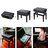 Die besten Klavierbänke - Yaheetech Klavierbank Schwarz Höhenverstellbar 45-55 cm, Sitzfläche 56 Bewertungen