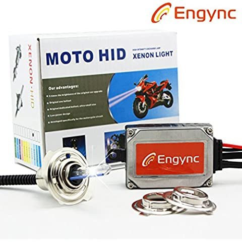 Engync® Upgrade Kit HID wireless della motocicletta del motociclo Xenon All in One H4 H6 P15D Hi / Low Light colore azzurro (12000K)