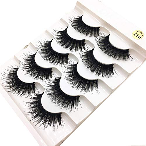 Sexy 1 Box Luxury 3D False Lashes Flauschige Wimpernstreifen Lange Natürliche Party Wimpern Echthaar Handarbeit Künstliche Langlebige Falsche-Wimpern Beauty-Wimpern illimitable (Schwarz)