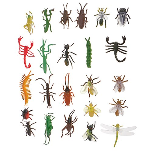Fenteer 24x Mini Insekten Figuren Modell Sammelfiguren Spielfiguren, aus Plastik