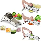 HomeFast Adjustable Stainless Steel Mandoline Slicer,Manual Kitchen Cutter Shredder Julienne for Grinding, Cutting,Slicing