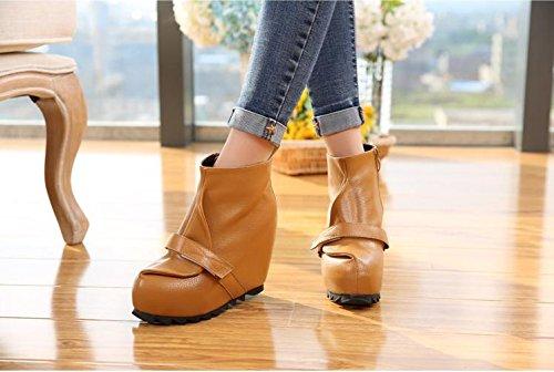 Salto Sapatos Cunha Patente Ar Livre Escritório E De Lvyuan Confortáveis Alto Carreira Couro casuais Botas Flatform Senhoras tornozelo Marrom De Ao CvUwq