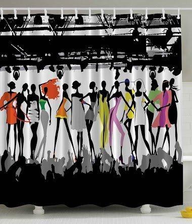 Vorhang Duschvorhang 180x200 CM Badezimmer Gewebe Modernes weibliches Fantasie Dekor Kollektion bunte Fashion Show Runway Stage Lights Concert Chic Top Models Themed Schwarz Weiß Coral Lila Grün (Weibliche Yoda)