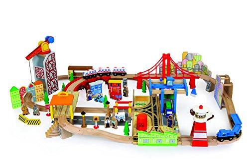 Bahnset Holzeisenbahn Hafen aus Holz, Tolles Starterset | 100-teilig mit vielfältigem Zubehör | Kombinierbar mit Anderen Bahnen und beliebig erweiterbar | Größe ca. 106 x 76 x 30 cm