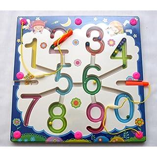 AeMBe - 2 in 1 - Holz Magnetic Spielzeug - Ziffern - Legespiel Lernspiel / Holz Spielzeug / Gedächtnisspiel für Kinder - Legespiel Anlegen - Motoric Übungen