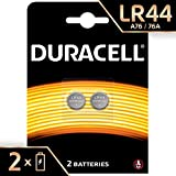 Duracell LR44 - Pila de botón alcalina 1.5V, diseñada para dispositivos electrónicos,  2 unidades
