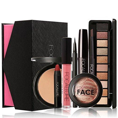 FAMILIZO FOCALLURE Maquillaje Set Sombreador De Ojos Máscara Lápiz Labial Polvo Moda Hermosa Simple Maquillaje
