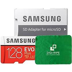 128 GO Digi Wipe Carte mémoire Micro-SD Evo Plus 128GB pour téléphones Samsung Galaxy A3, A5, A6, A6, A7, A8, A8s, A9, Tous 2016, 2017, 2018 Versions - Comprend Un Chiffon de Nettoyage en Microfibre