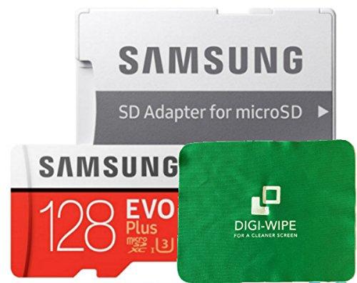 Micro-SD EVO Plus - Tarjeta de Memoria para Samsung Galaxy J1, J2, J3, J5 y Galaxy J7, Incluye paño de Limpieza de Microfibra Digi Wipe (128 GB)