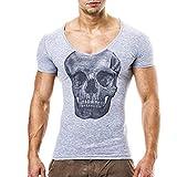 Hiroo Uomo Camicia T-shirt Maglia a Manica Corta/T Shirt Uomo Manica Corta/Maglione da Uomo/scheletro stampa slim fit manica girocollo/T-shirt girocollo/Estate in alto (M, Grigio)