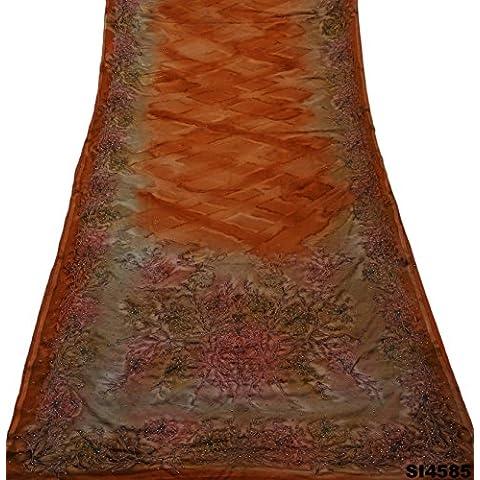 Moldeado Indio Mano Sari De Crepe De Seda Tejido Textil Trabajo Vendimia Mujeres Sarong Vestido De Abrigo 5 Silla