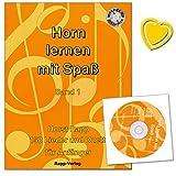 Horn lernen mit Spaß Band 1 - 150 Lieder und Duette für Anfänger - Autor Horst Rapp - Notenheft mit CD und bunter herzförmiger Notenklammer