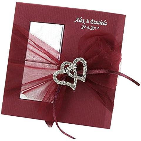 Mopec AB600 - Broche con forma de corazones en strass con estuche de 2 chocolates, pack de 40