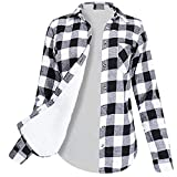 Womens Winter Flannel Plaid Button Top with Plush Lining Warm Shirt Coat