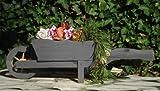 BLACK Großer Schubkarren, Holzschubkarre, Garten - Schubkarre Deko 110 cm, Pflanztrog, Pflanztopf mit Holz - Deko HSC-110-SCHWARZ Blumentopf, Holz, groß schwarz anthrazit dunkel grau lasiert Pflanzgefäß, Pflanztöpfe Pflanzkübel Aussen- und Innenbereich