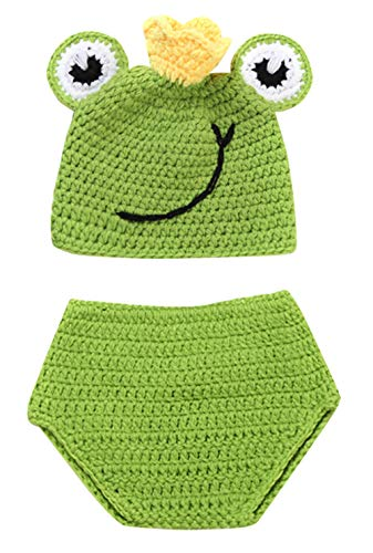Happy Cherry Neugeborenes Baby Häkelarbeit Strick Kostüm Outfits Fotografie Stütze Süße Frosch Hüte