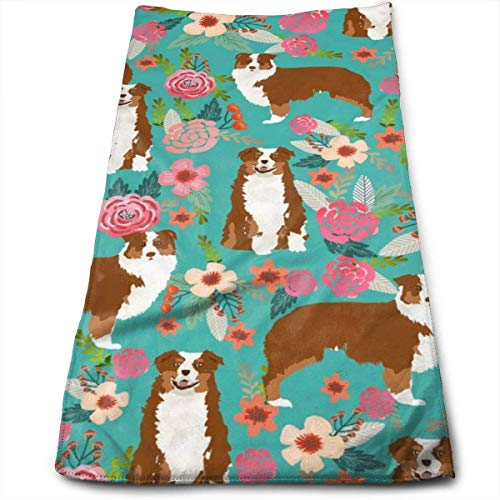 Aussie Floral Australian Shepherd Design - Red Tricolored Dog Hand Towels Dishcloth Floral Linen Hand Towels Super Soft Extra Absorbent for Bath,Spa and Gym 12