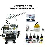 Komplett Airbrush Set Body-Painting 9403 Evolution Silverline 2in1 + Sparmax TC-610H-n Kompressor