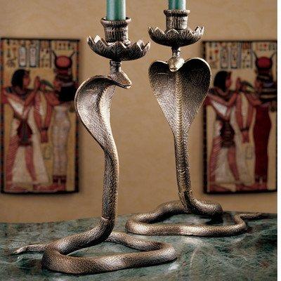 Design Toscano Uraeus Royal Egyptian Cobra Foundry Iron Candlesticks - Set of 2